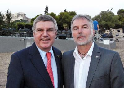 με τον πρόεδρο της Διεθνούς Ολυμπιακής Επιτροπής Thoma Bach-Πνύκα